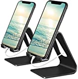 Vetoo Cell Phone Stand, 2 Pack Phone Dock: Cradle, Holder, Stand Compatible with Switch, All Android Smartphone, Phone 11 Pro Xs Xs Max Xr X 8 7 6 6s Plus 5 5s Charging, Accessories Desk (Black)