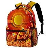 Sac a Dos Ecole Fille Primaire, Sac à Dos pour Enfants - Sac d'école pour Les Enfants T Sac de Livre d'école Primaire Nuages de Lotus de carpe rouge chinoise traditionnelle