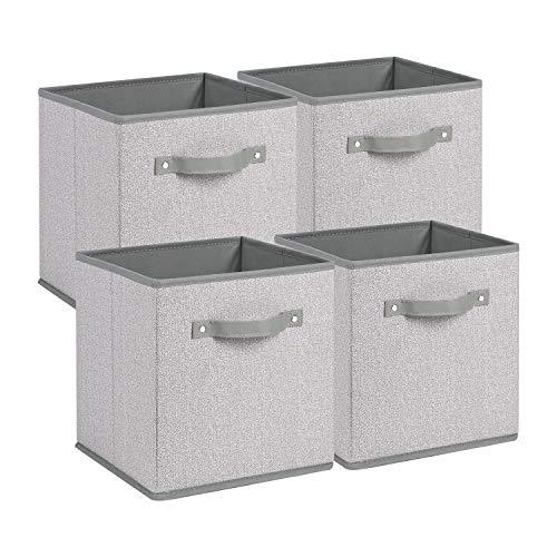 "Kntiwiwo Large Storage Cubes 13"" x 13"" x 13"" Fabric Storage Bins for Cube Organizer Foldable Storage Baskets w Cardboard for Organizing Shelf Nursery Home - Grey Set of 4"