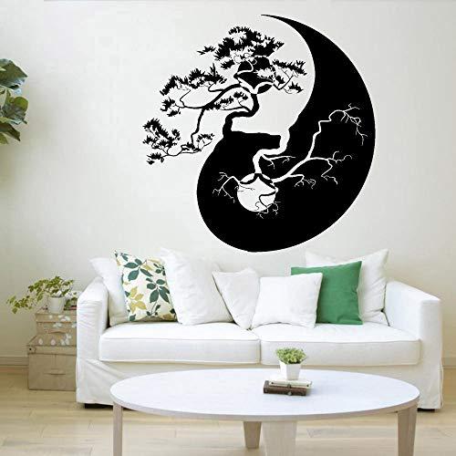Yin Yang Tai ji Zen Árbol de la vida Símbolo Ramas de árbol Ramas de estilo asiático Etiqueta de la pared Vinilo Arte Calcomanía Dormitorio Sala de estar Estudio de yoga Oficina Decoración para e