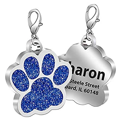 Fibernail Personalized Paw Dog Name Tag, Custom Engraved Pet ID Tags, Cat Tags, Sparkling Glitter Paw Shape Dog ID tag for Cats Little Dogs(Blue-L)