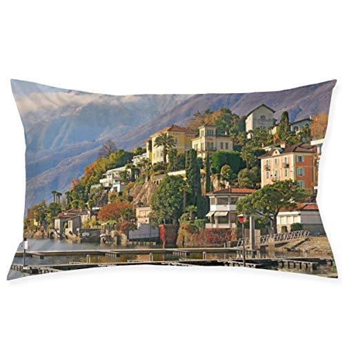 wu Switzerland Ascona Kissenbezüge aus Baumwolle zum Schlafen 50,8 x 76,2 cm Bett-Kissenbezug weicher Kissenschutz mit verstecktem Reißverschluss Wohnaccessoires