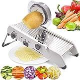 cortador de patatas Mandolina máquina de cortar ajustable, sin BPA Veggie Spiralizer segmentación de datos, 18 tipos de acero inoxidable ajustable cortador manual vegetal rallador, Vegetable Slicer, f