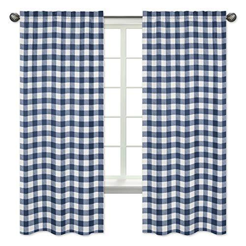 Sweet Jojo Designs Navy Buffalo Plaid Check Window Treatment Panels Curtains - Set of 2 - Blue and White Woodland Rustic Country Farmhouse Lumberjack
