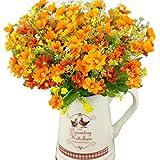 1 bouquet de 28 marguerites artificielles - Fleurs en soie - Belle décoration de mariage, de fête, Orange, Taille unique