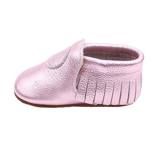 Liv & Leo Krabbelschuhe Moccasins Designer Babyschuhe aus U.S.A - Herzchen Kollektion (0-6 Monate (EUR 16/17), Pink Metallic)