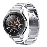 Kartice Metal Bands Compatible with Samsung Galaxy Watch 46mm Bands Gear S3 Band 22mm No Gaps Solid Stainless Steel Metal Watch Bands for Samsung Galaxy Watch 46mm Band (Silver)