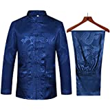 Tang Suit Men Hanfu Chinese Traditional Clothes Kung Fu Shirt Uniform Long Sleeved Coat Tops and Pants (Navy Blue, US XL (Asia Size XXXL))
