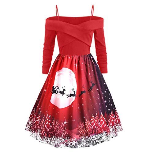 Transwen Weihnachtskleid, Damen Vintage O-Neck Printed Kurzarm A-Linie Swing Kleid Weihnachtsdeko Cocktailkleid Weihnachtsmann Festlich Kleid (M, Rot)
