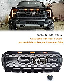 $279 » 2021 F150 Raptor Style Grille Matte Black with 3 Amber LED&Letters Matte Black fit for 2021-2022 F150 ( Fit Trucks with Fr...
