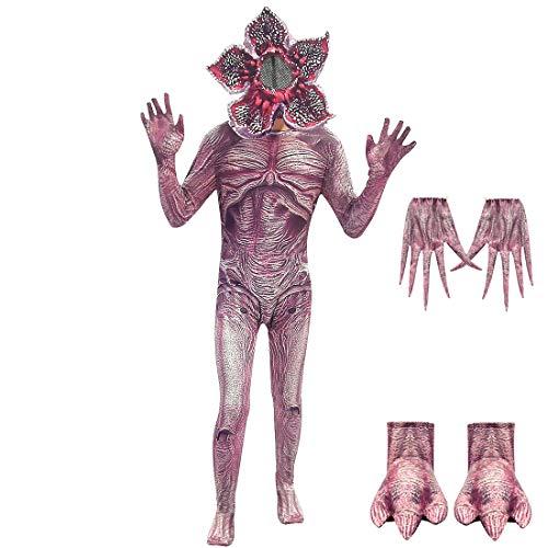 Kids Demogorgon Costumes Halloween Zentai Bodysuit Jumpsuit Dress Up Horror Cannibal Flower Cosplay Party Full Set Size 12 Style B