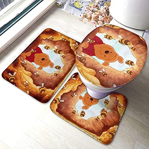 jichuang Wi-nnie P-ooh - Juego de alfombras de baño (3 piezas, alfombrilla antideslizante, alfombrilla de contorno + tapa de inodoro)