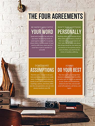 The Four Agreements Poster (Canvas Framed, 16x20)