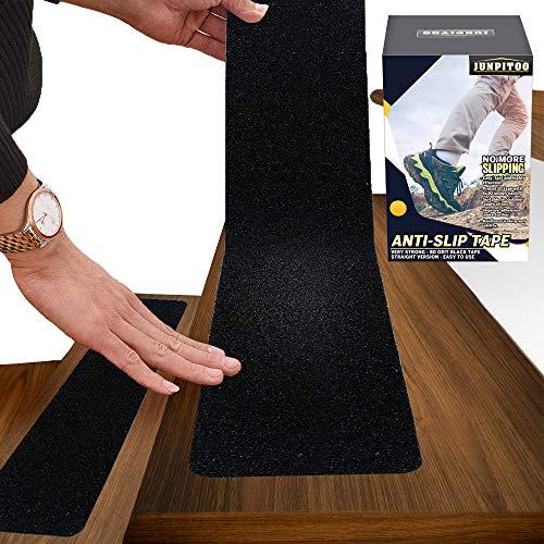 "6""x30"" Anti Slip Tape Outdoor Stair Treads Non-Slip (10-Packs) Black Non Slip Tape Three-Layer Design"
