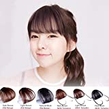 HAIQUAN Natural Real Human Hair Flat Bangs/Fringe Hand Tied Bangs Fashion Clip-in Hair Extension (Flat Bangs with Temples, Light Brown)