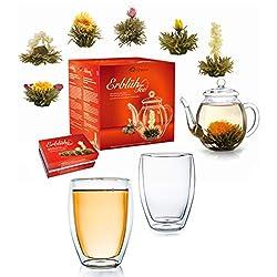 Creano Teeblumen Mix - Geschenkset Erblühtee mit Glaskanne & 2x 250ml Thermogläser - Weißer Tee (in 6 Sorten)