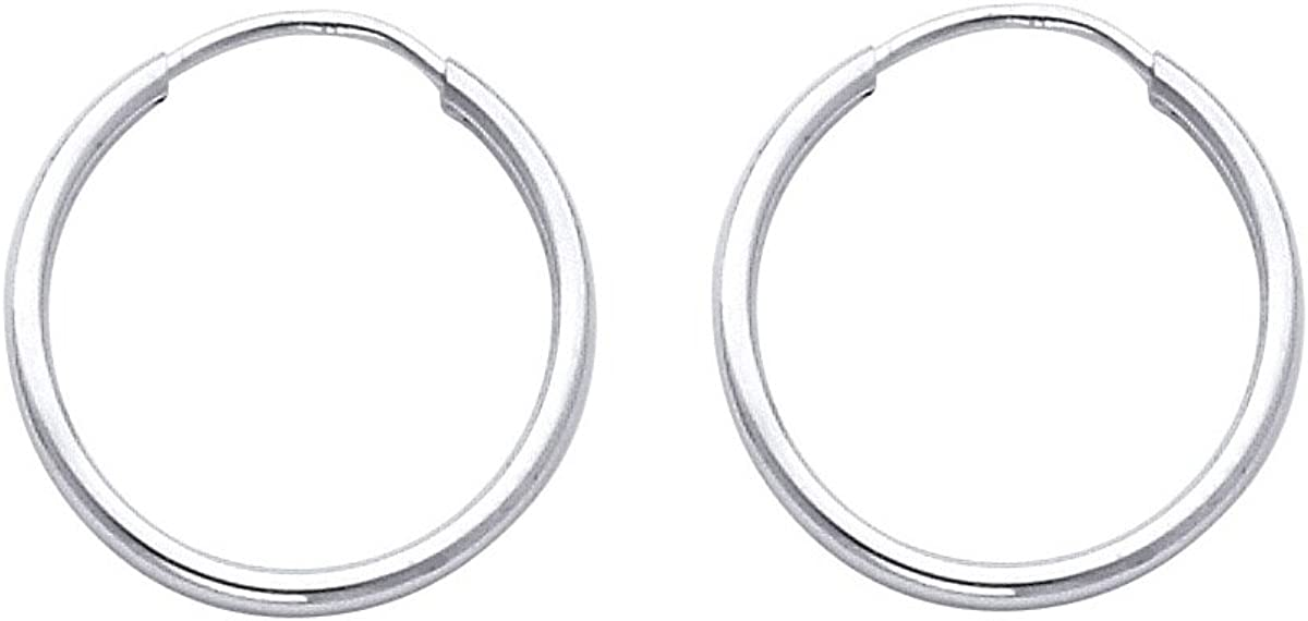 TGDJ 14k White Gold 1.5mm Daily bargain sale Thickness Di Now on sale - Endless 8 Earrings Hoop