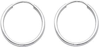 Mia Diamonds 14k White Gold 1.5mm Diamond-cut Endless Hoop Earrings
