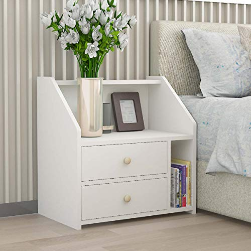 Vanimeu Modern Bedside Tables with 2 Drawers Nightstand Unit Cabinet White Side Table for Bedroom Living Room (2 Drawers with Storage)