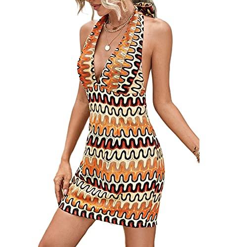 Snaked cat Vestidos bohemios casuales de las mujeres con cuello en V vestidos sin mangas impresos ocasionales sin espalda vestidos de verano