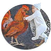 ソフトラウンドエリアラグ滑り止めフロアサークルマット Diameter 31.5INCH 吸収性メモリースポンジスタンディングマット,油絵のオンドリと鶏