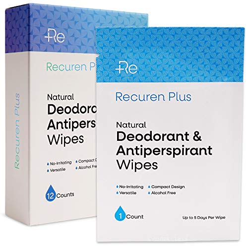 Recuren Plus Deodorant & Antiperspirant Wipes for Underarm Odor, Hyperhidrosis & Excessive Sweating, Alcohol Free, 12 Individually Sealed Packets, Portable and Lightweight, Refreshing Scent – Unisex