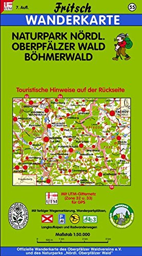 Fritsch Karten, Nr.55, Naturpark Nördlicher Oberpfälzer Wald, Böhmerwald (Fritsch Wanderkarten 1:50000)