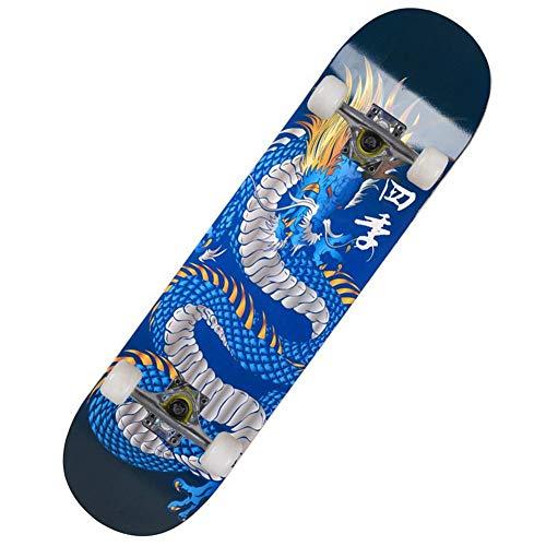 Potato smile Complete Skateboard, Skateboard for Jugendliche/Erwachsene, Vier-Rad-Doppel-upslide Skateboard Four Seasons Wahren Drachen