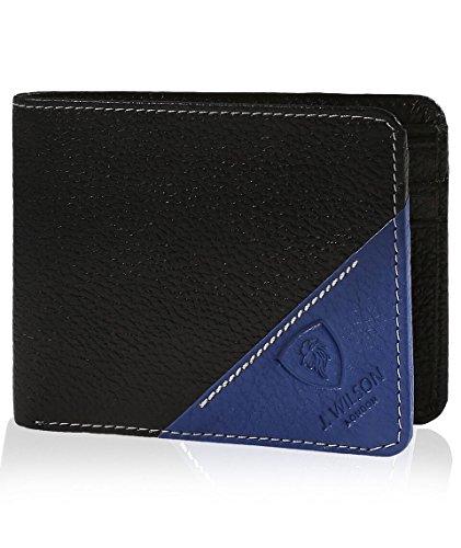 J. Wilson London Mens Bifold Coin Leather Wallet Blue