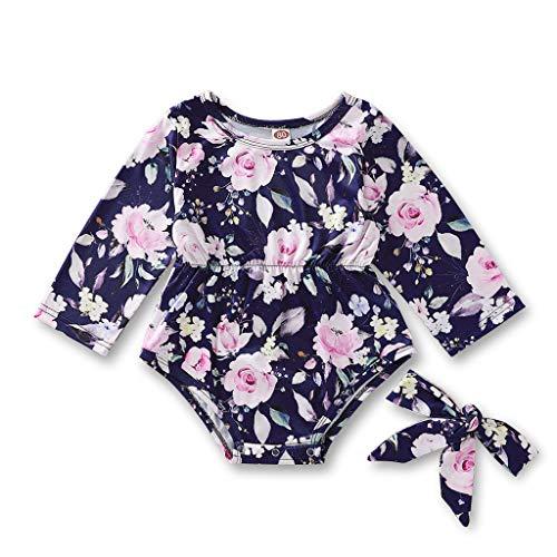 Weilov Infant Bébé Garçon Filles Manches Longues Imprimé Floral Body + Bandeau Tenues Combinaison Chaude Combinaison Confortable