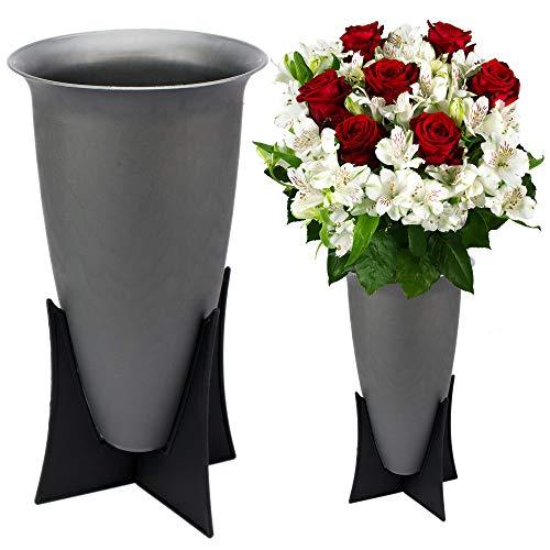 Mabax 2 x Grabvasen Grabvase mit Ständer Friedhofsvase Blumenvase Vase für Grab Friedhof Standvase Kunststoff grau