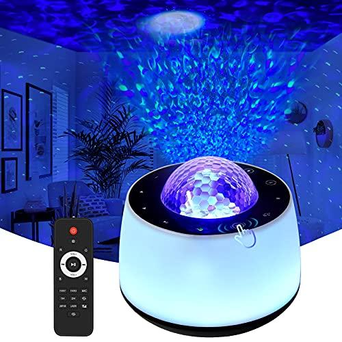 LED Sternenhimmel Projektor, Kimwood Nachtlicht Kind USB Einschlafhilfe, Touch Control, Ferngesteuerte Projektionslampe, Farbwechsel Musikspieler mit Bluetooth & Timer