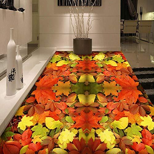 Papel tapiz mural de piso personalizado 3D Hoja de arce Sala de estar Baño Suelo de vinilo Papel tapiz autoadhesivo impermeable para pared Roll-200 * 140cm