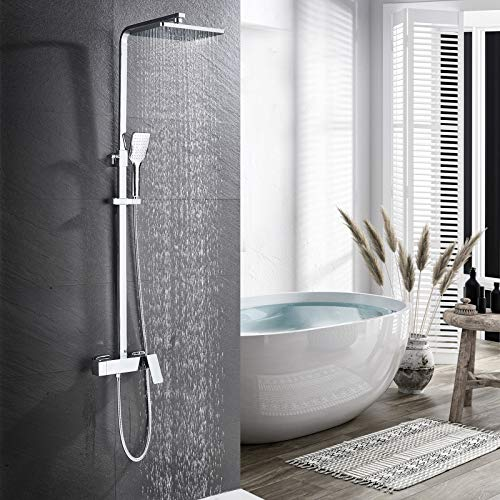 Duschsystem Regendusche Mischbatterie HUAHOMDY Duscharmatur mit 3-Funktion Duschsäule Kopfbrause, Handbrause und Brause Wasserhahn Verstellbarer Duschstange Duschset für Bad