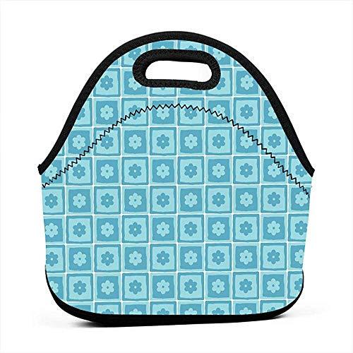 Blauwe lichtblauwe vierkant frame neopreen lunchzak Tode geïsoleerde lunchbox voedselcontainer handtas koelapparaat warme zak