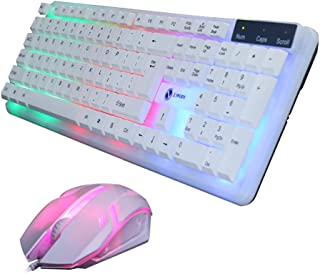 Baishitop Colorful LED Illuminated Backlit USB Wired PC Rainbow Gaming Keyboard Mouse Set White (F)