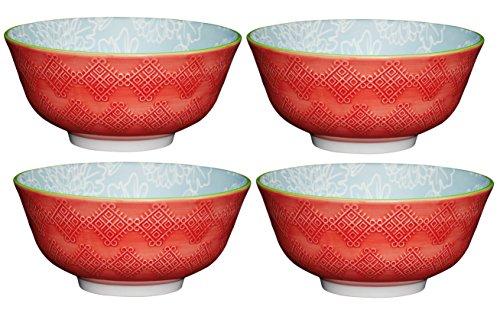 Kitchencraft Tile-Patterned sur Pied/à Motifs Fleurs Bols, 15.5 cm (15,2 cm), en CÉRAMIQUE, Rouge/Bleu, 15.5 x 15.5 x 7.5 cm