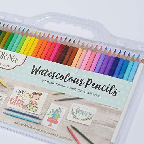 ADORNit Watercolor Pencil Set - With Bonus Waterbrush - 36 Pcs