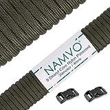 Namvo Mil Spec - Cuerda de paracaídas de nailon tipo III, 9 hebras internas de fuerte resistencia a la rotura de 4 mm de diámetro, 100 pies, 550, color verde oliva