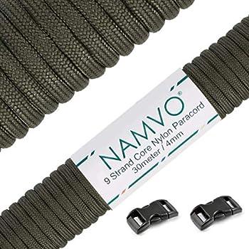 Namvo Mil Spec Corde de parachute en nylon Type III 9 brins intérieurs forte résistance à la rupture 4 mm de diamètre 30,5 m Paracorde 550 Vert olive