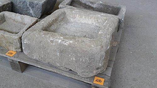 Der Naturstein Garten Alter Trog aus Granit 49 cm lang Brunnen Steintrog - G1280 Granittrog Waschbecken