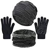 3 Pieces Winter Hat Scarf and Gloves Set for Men and Women, Knit Slouchy Beanie Cap&Neck Warmer&Screen-Touch Texting Gloves Black
