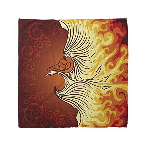 Ambesonne Unisex Bandana, Orange Phoenix Bird in Flame, Orange Yellow