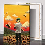 Tyler The Creator Poster, Horizontal Flower Boy Music Album Cover Poster,Wall Art Waterproof Canvas Prints Painting Living Room Decor Home Decoration (16x24inch framed,Tyler)