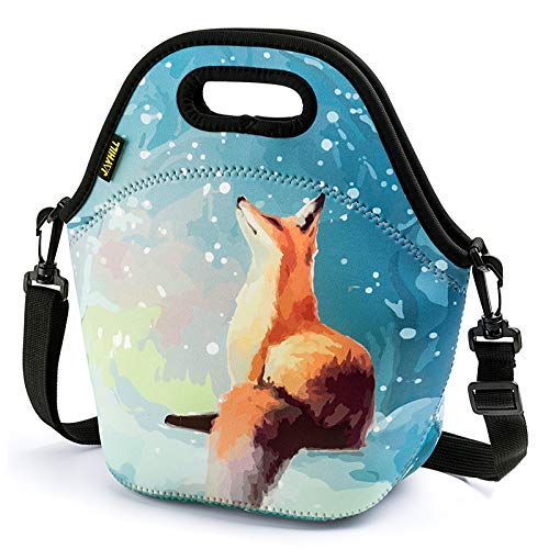 Neoprene Lunch Bag Cute lunch bags for Women Kids Girls Men Teen Boys Insulated Waterproof Lunch Tote Box for Work School Travel and Picnic Orange Fox