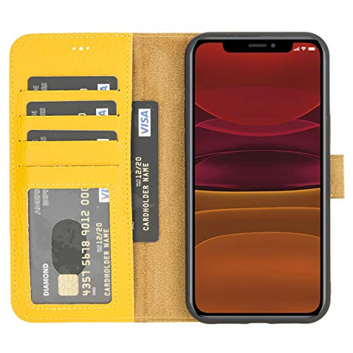 """Leather Detachable Wallet Case Compatible with iPhone 12 Pro Max(6.7""""), RFID Protection Magnetic Detachable Cover Case Credit Card Holder & Cash Slot with Kickstand for Men and Women (Lemon Yellow)"""