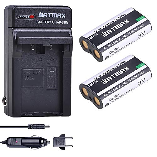 Batmax 2Pcs CR-V3 Battery + DC Charger for Olympus LB01 CRV3 LB-01 C3000 C3040 40Z C-2100UZ C-211 C-211Z C-3000 C-3030 C-3030Z C-3040Z C-4000 C-5050 C-5050Z C-700 D510 Cameras