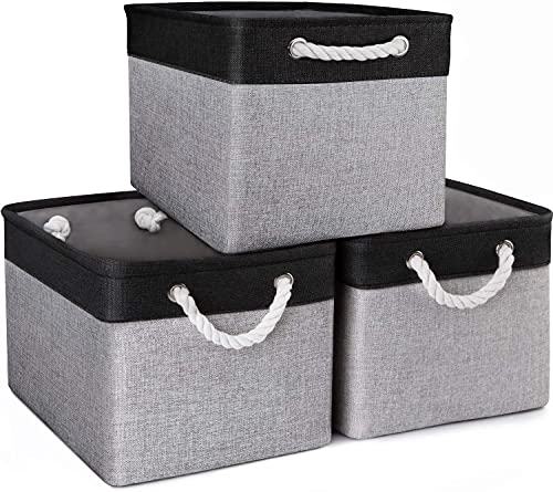 WISELIFE Baskets for Organizing [3-Pack] Collapsible Canvas Storage Bins for Toys Shoes Decorative Storage Bins for Organizing with Handles(Grey-Black Patchwork,15