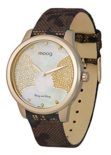 Moog Paris Ebony and Ivory Reloj para Mujer con Esfera Nácar Beige, Correa Oro Rosa de Piel Genuina y Cristales Swarovski - M45612-008