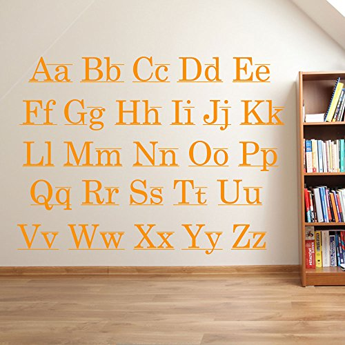 Lettres de l'alphabet enfants Chambre d'enfant salle de jeux Décoration murale fenêtre Stickers Décoration murale Stickers muraux Décoration murale Stickers muraux Stickers Autocollant mural Stickers panoramique Décor DIY Deco amovible Stickers muraux colorés stickers, Vinyle, All Orange, Taille M